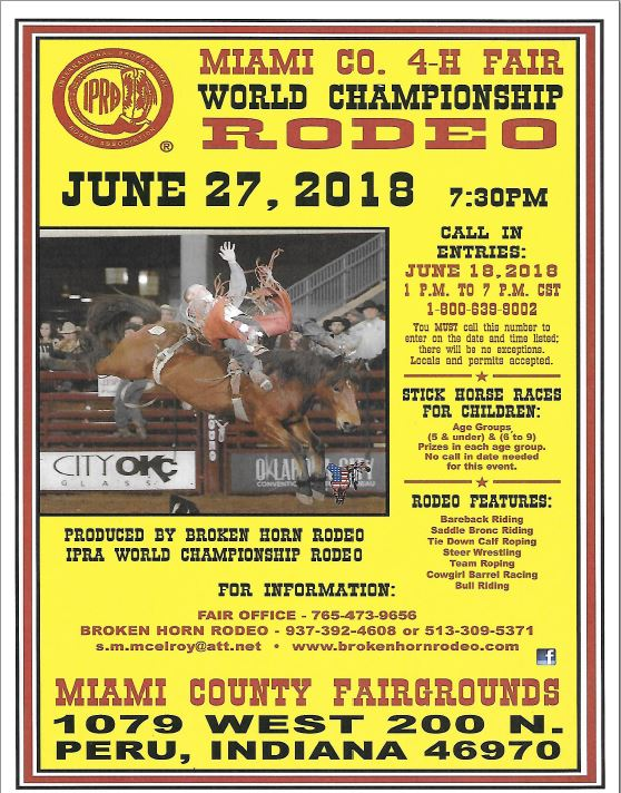 Miami County 4h Fair And Rodeo 2019 Peru In Broken Horn